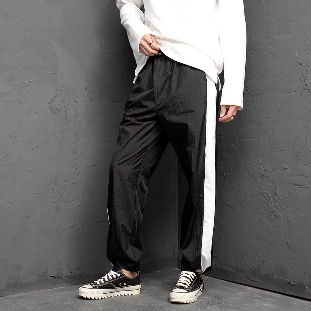 Contrast Side Line Drawstring Hem Sweatpants 1328