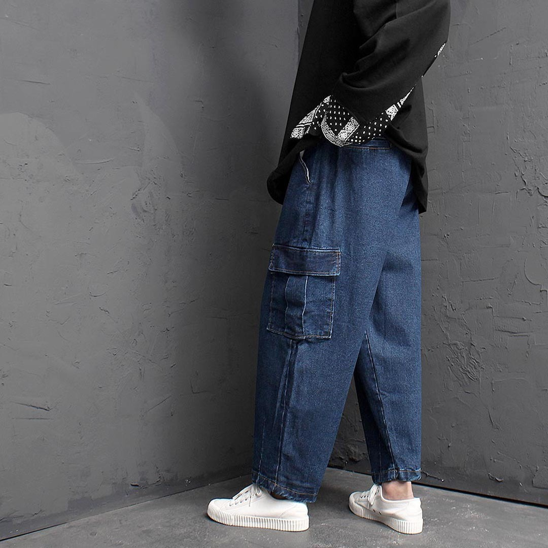 Vintage Washed Cargo Pocket Denim Balloon Pants 1458