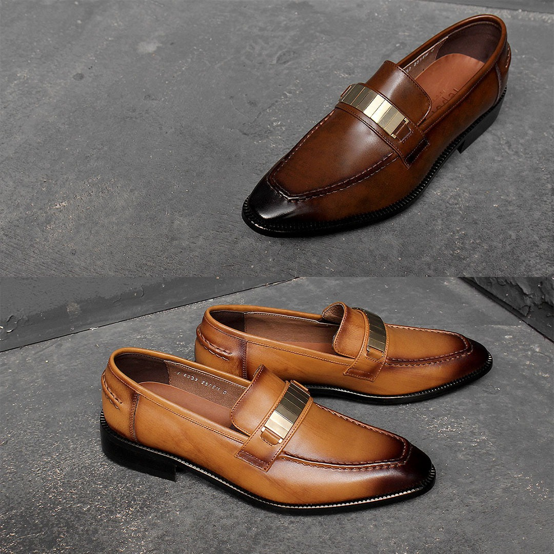 Metal Garnish Handmade Leather Loafer 1383