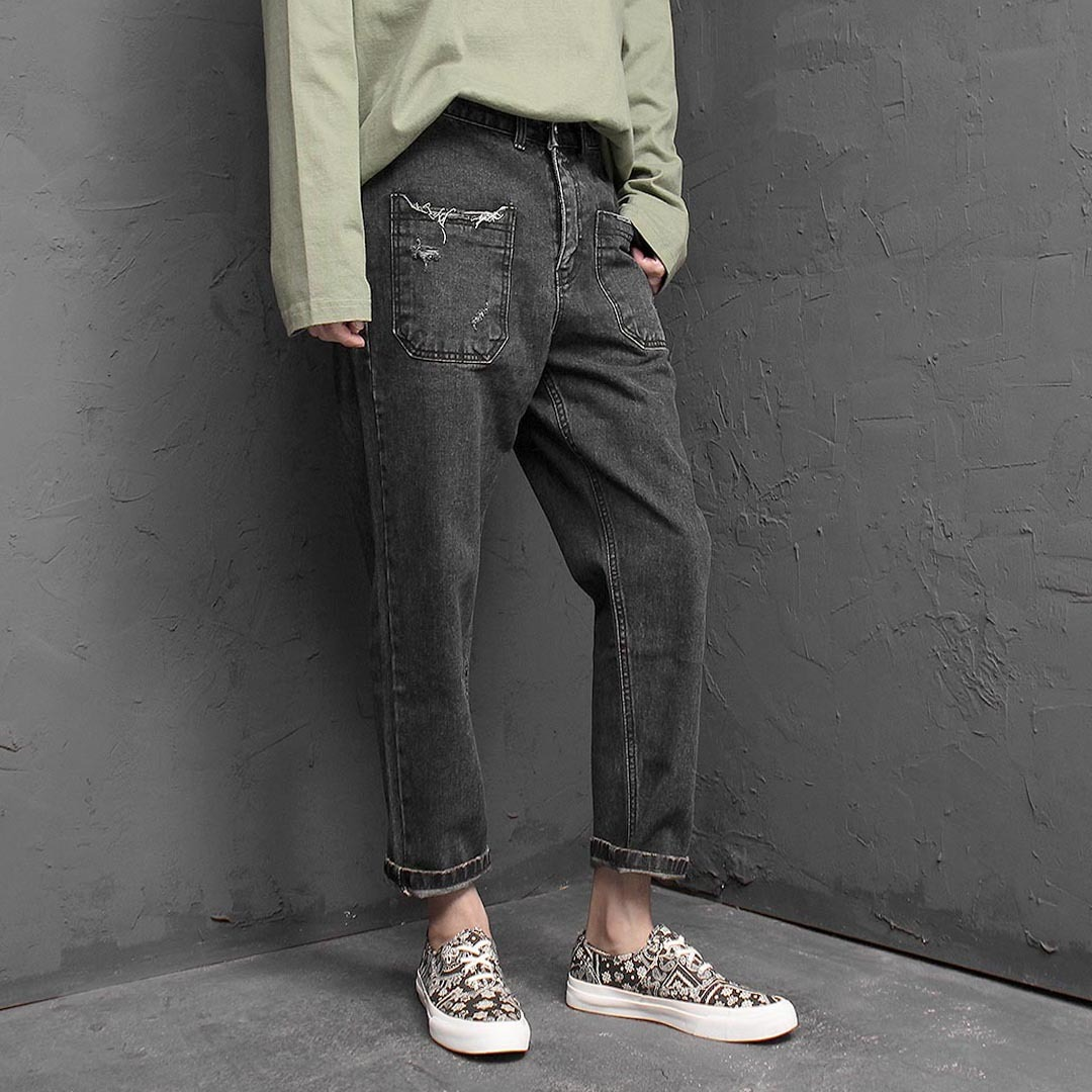 Vintage Distressed Denim Baggy Pants 1384