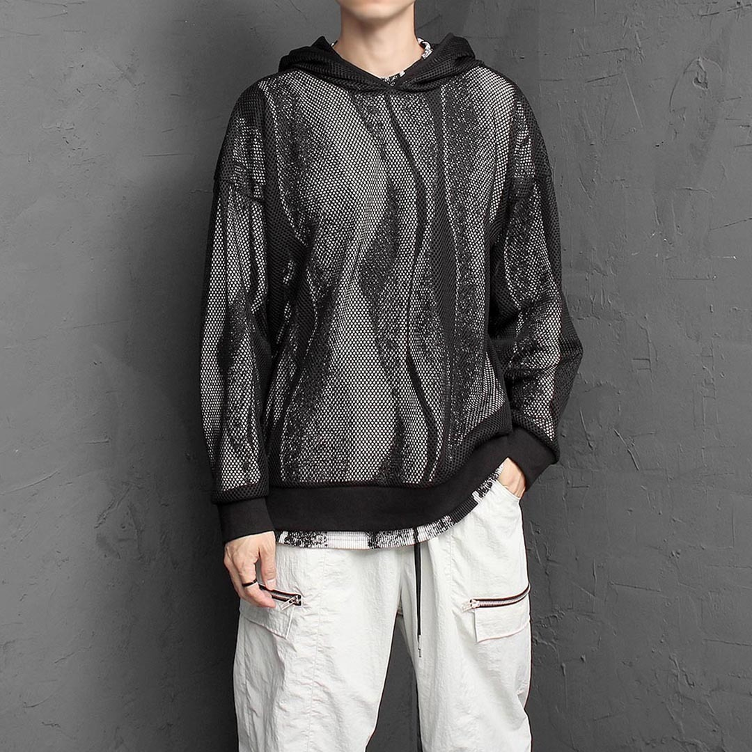 Loose Fit See Through Mesh Long Sleeve Hoodie 1419