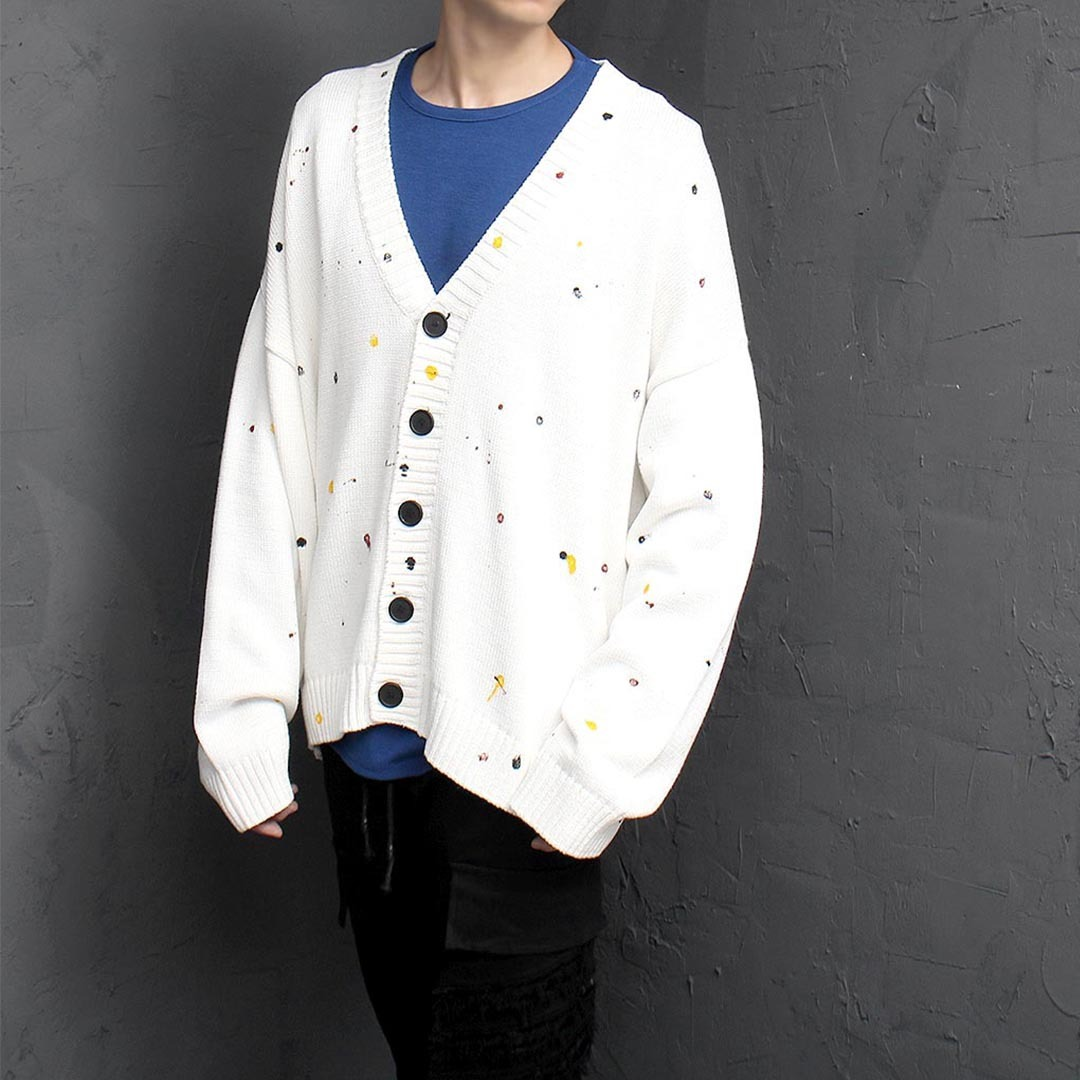 Loose Fit Splattered Painting Knit Cardigan 1395