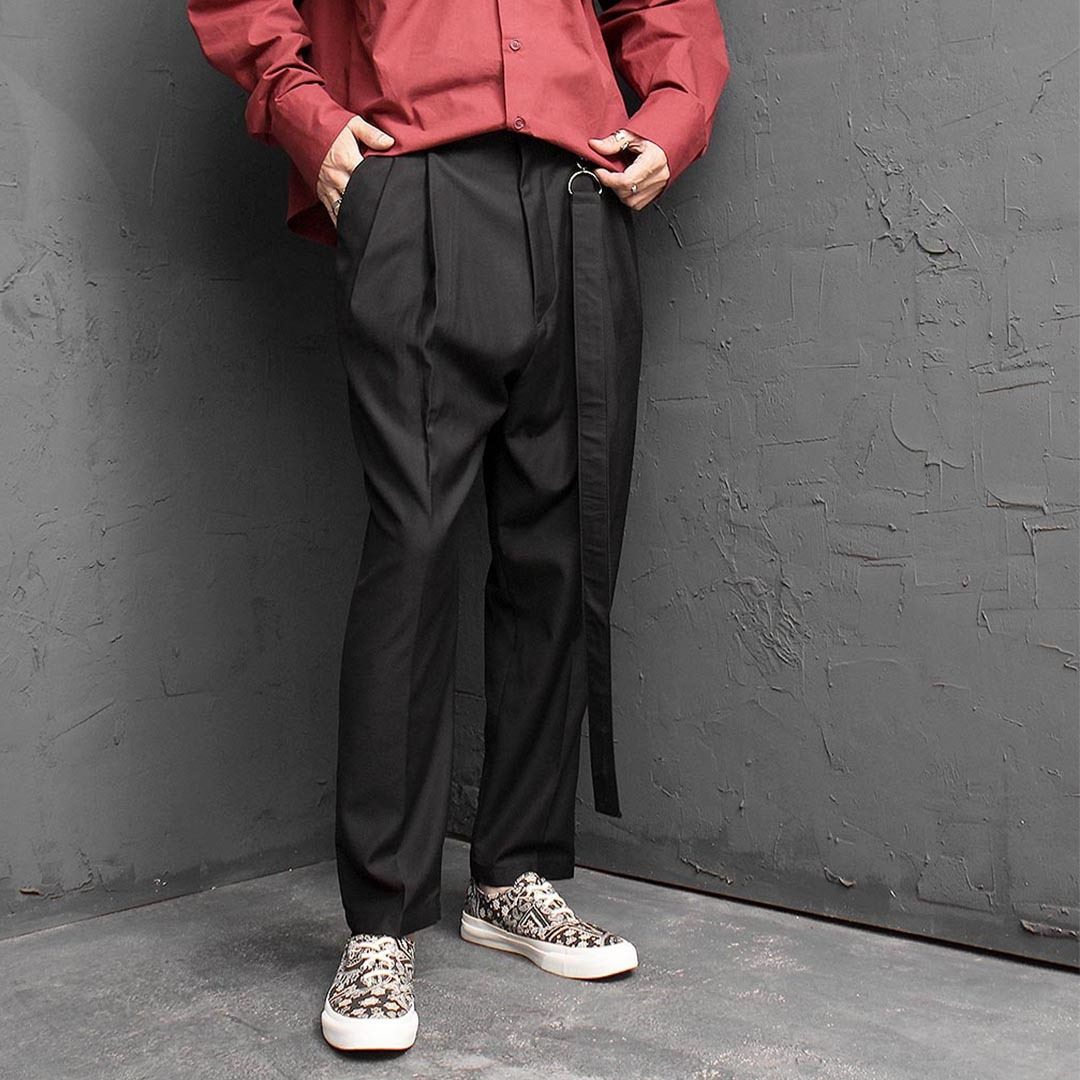 Long Strap Semi Baggy Slacks Pants 1385
