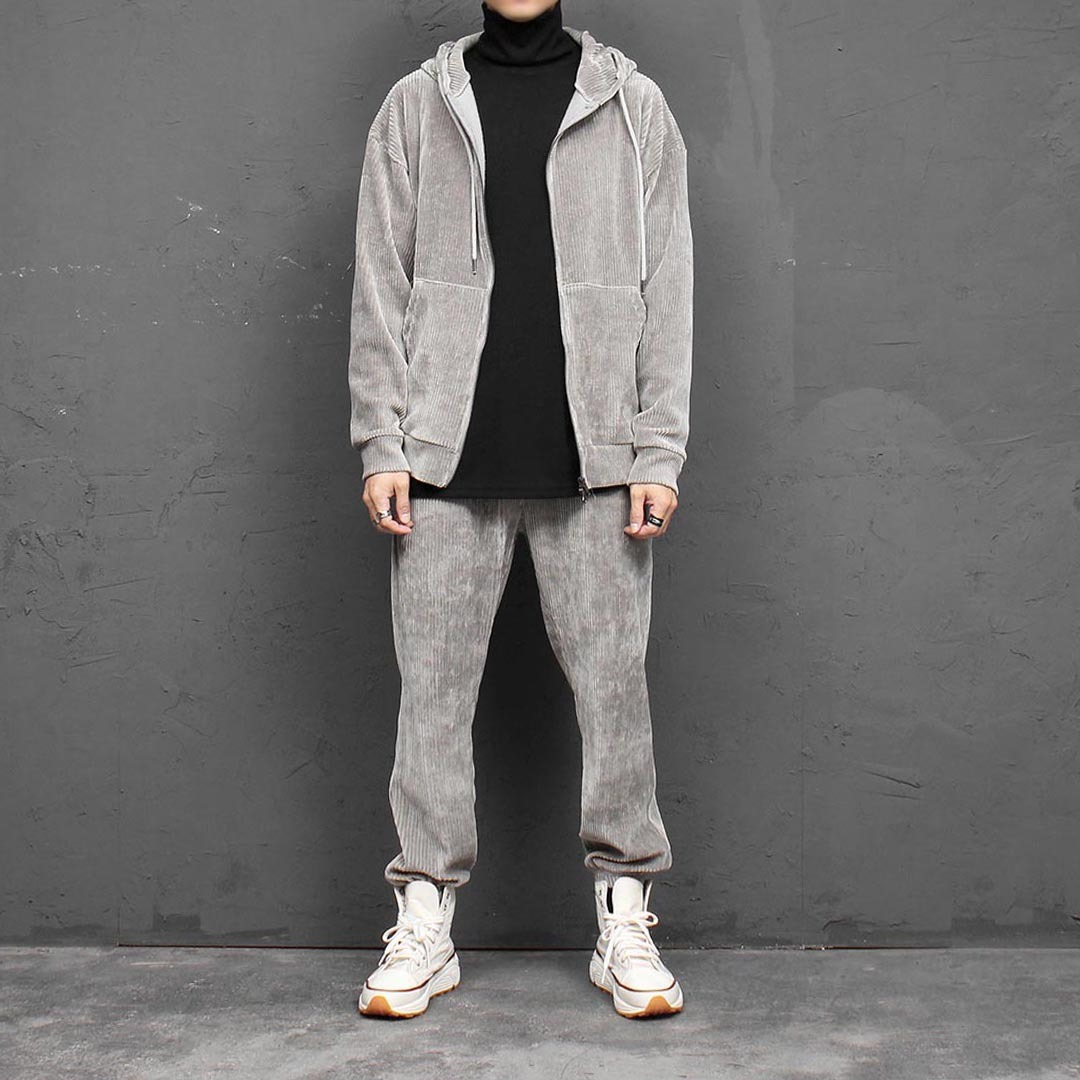 Corduroy Zip Up Hoodie Jogger Pants Set 1565