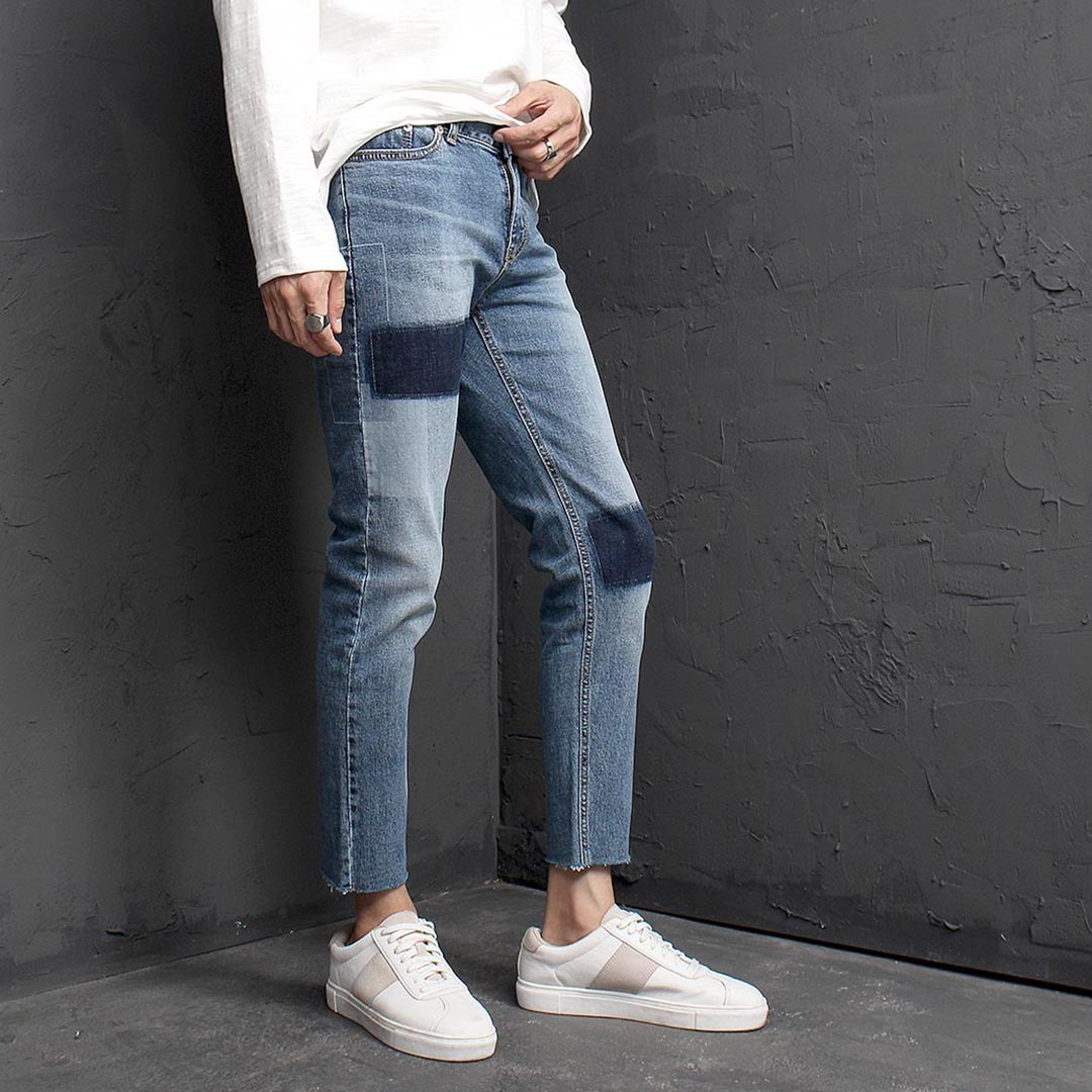 Block Washed Styling Blue Skinny Jeans 1344