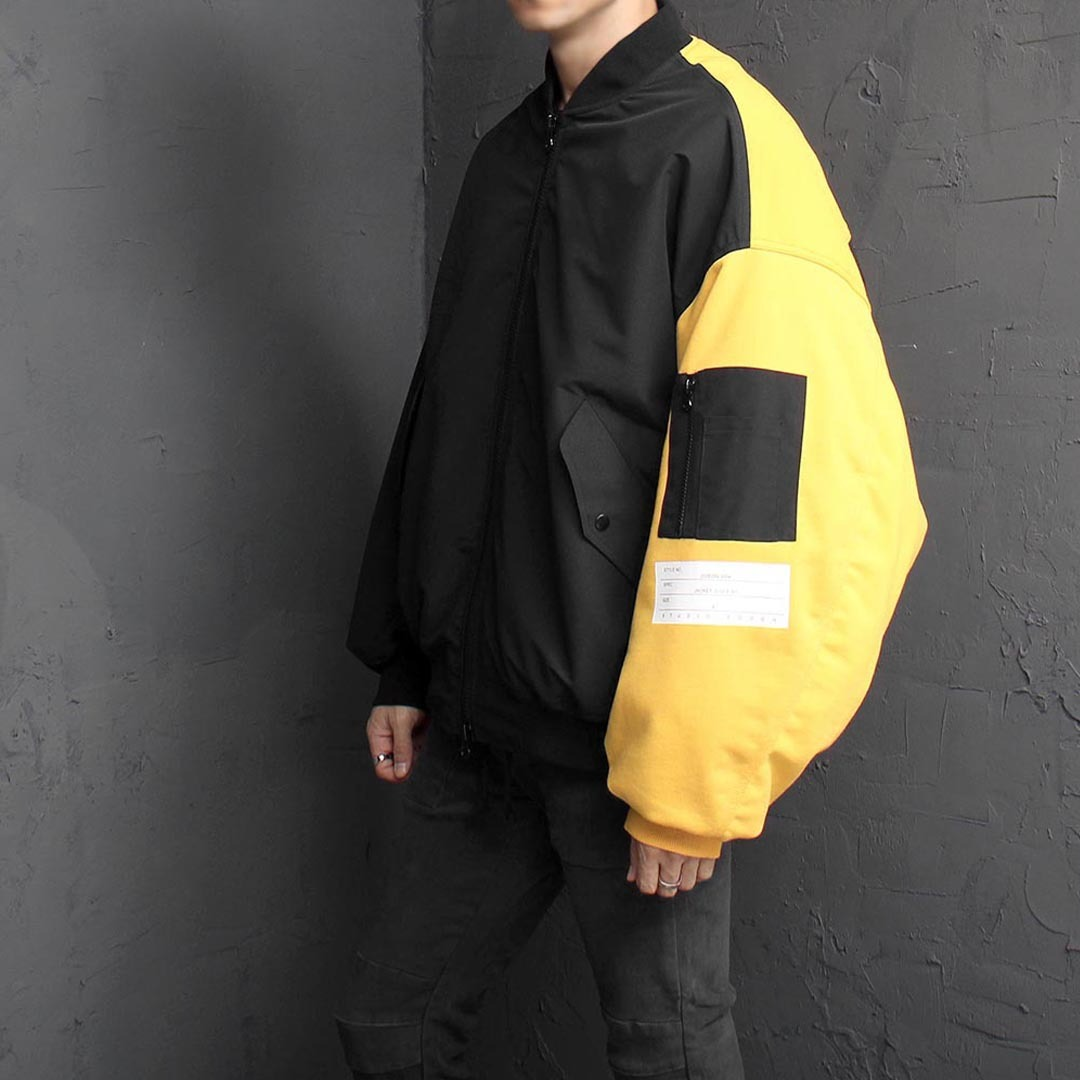 Oversized Fit Contrast Color Bomber Jacket 1582