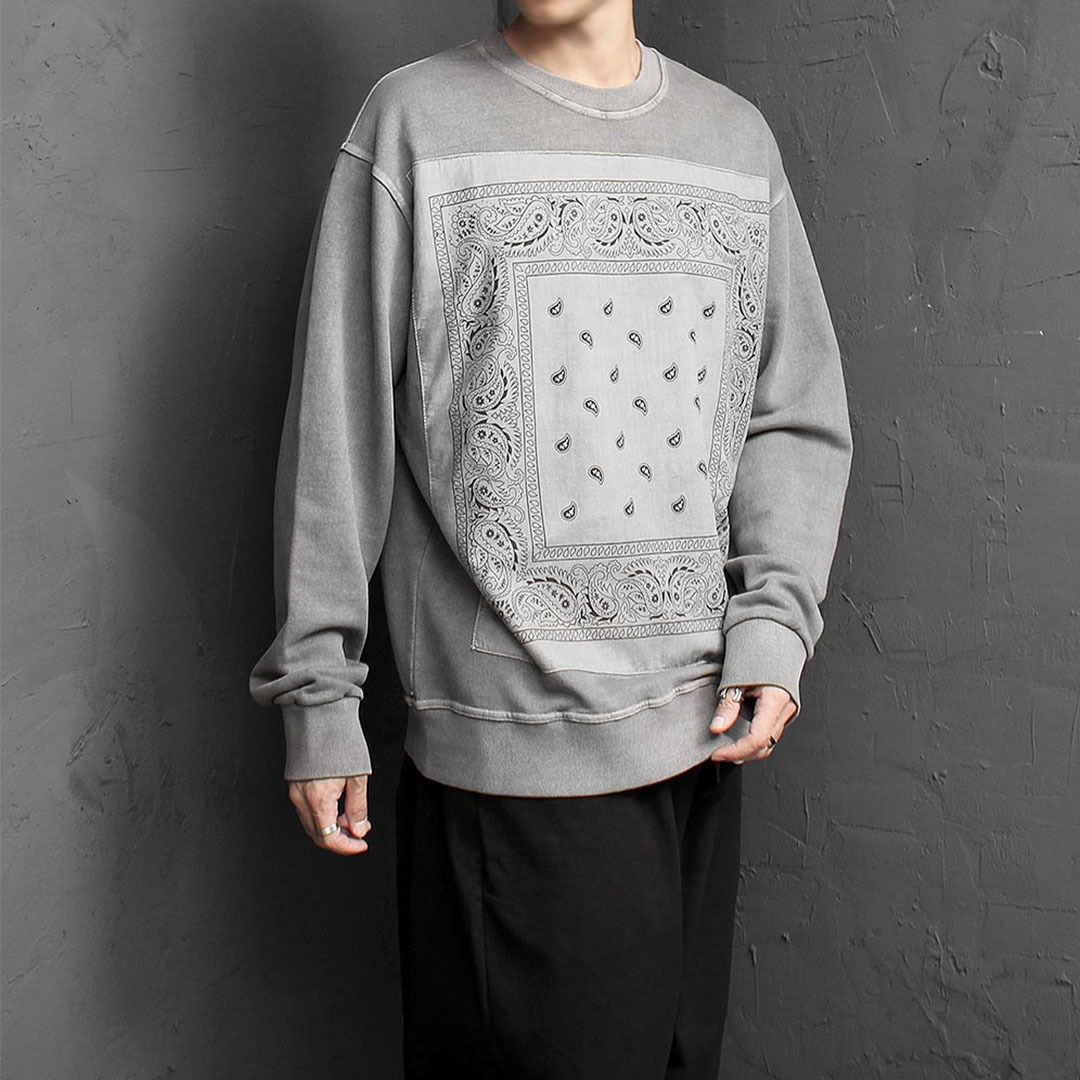 Paisley Pattern Pigment Washed Sweatshirt 1442