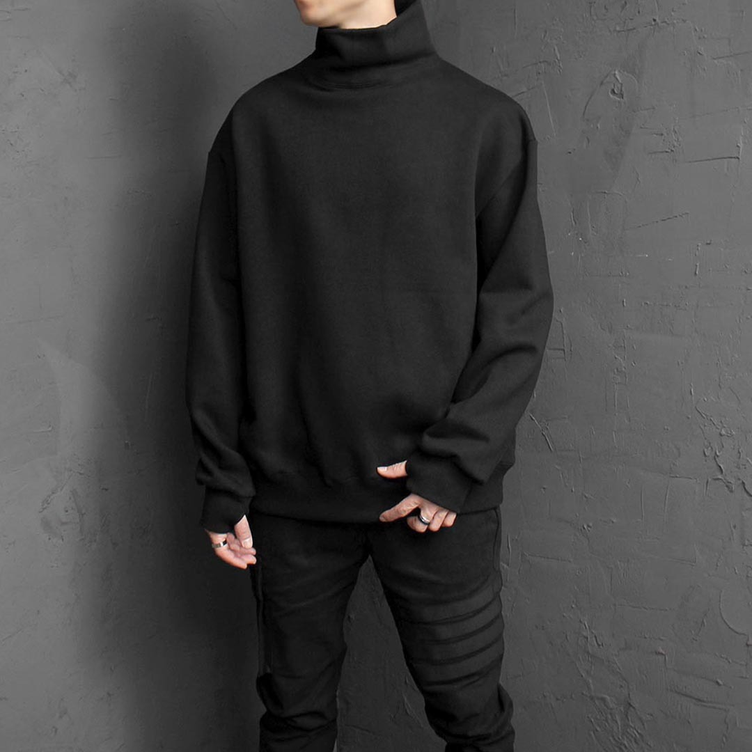 Turtle Neck Handwarmer Sweatshirt 1628