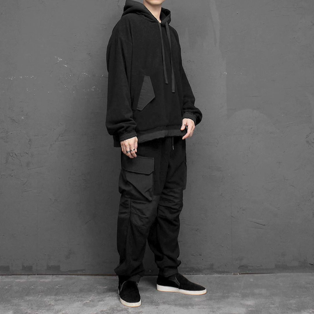 Fleece Hoodie Wide Cargo Pants Set 1690