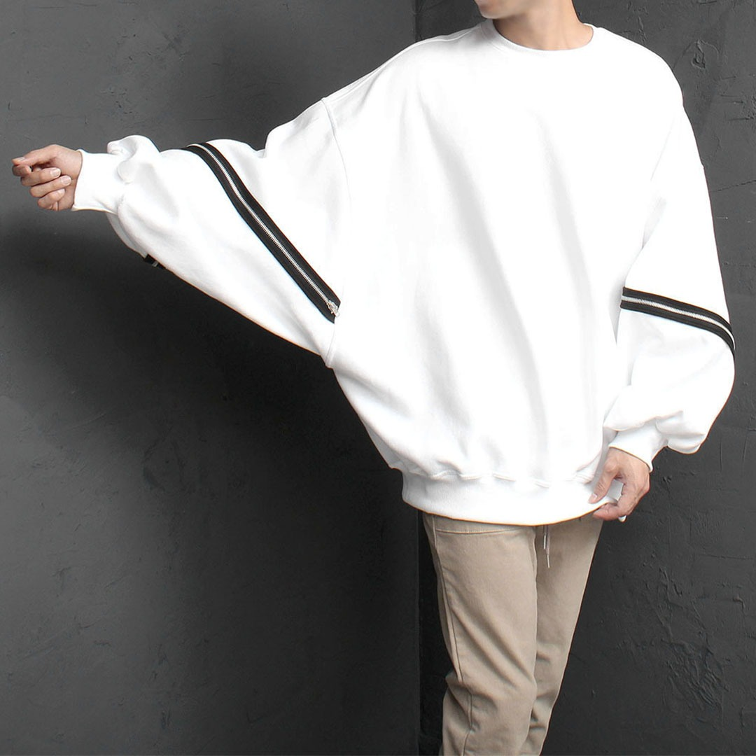 Oversized Fit Zipper Sleeve Sweatshirt 1684