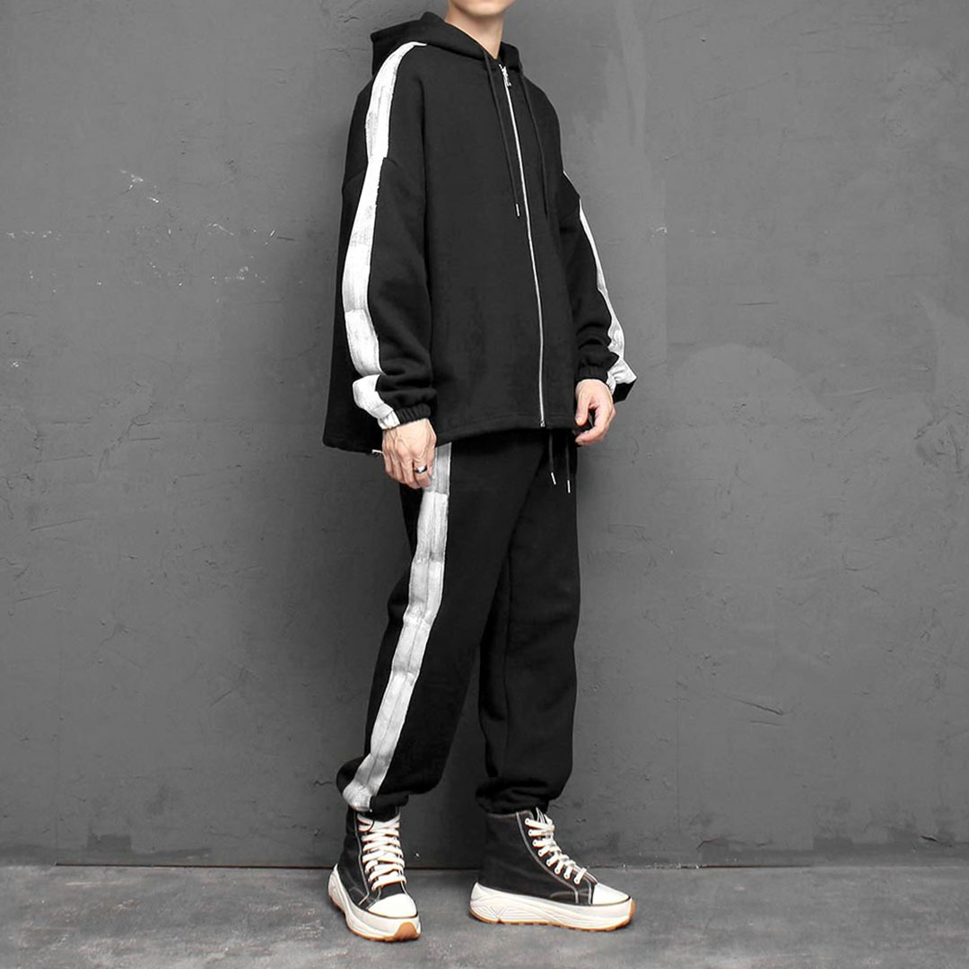 Painting Zip Up Hoodie Jogger Pants Set 1676