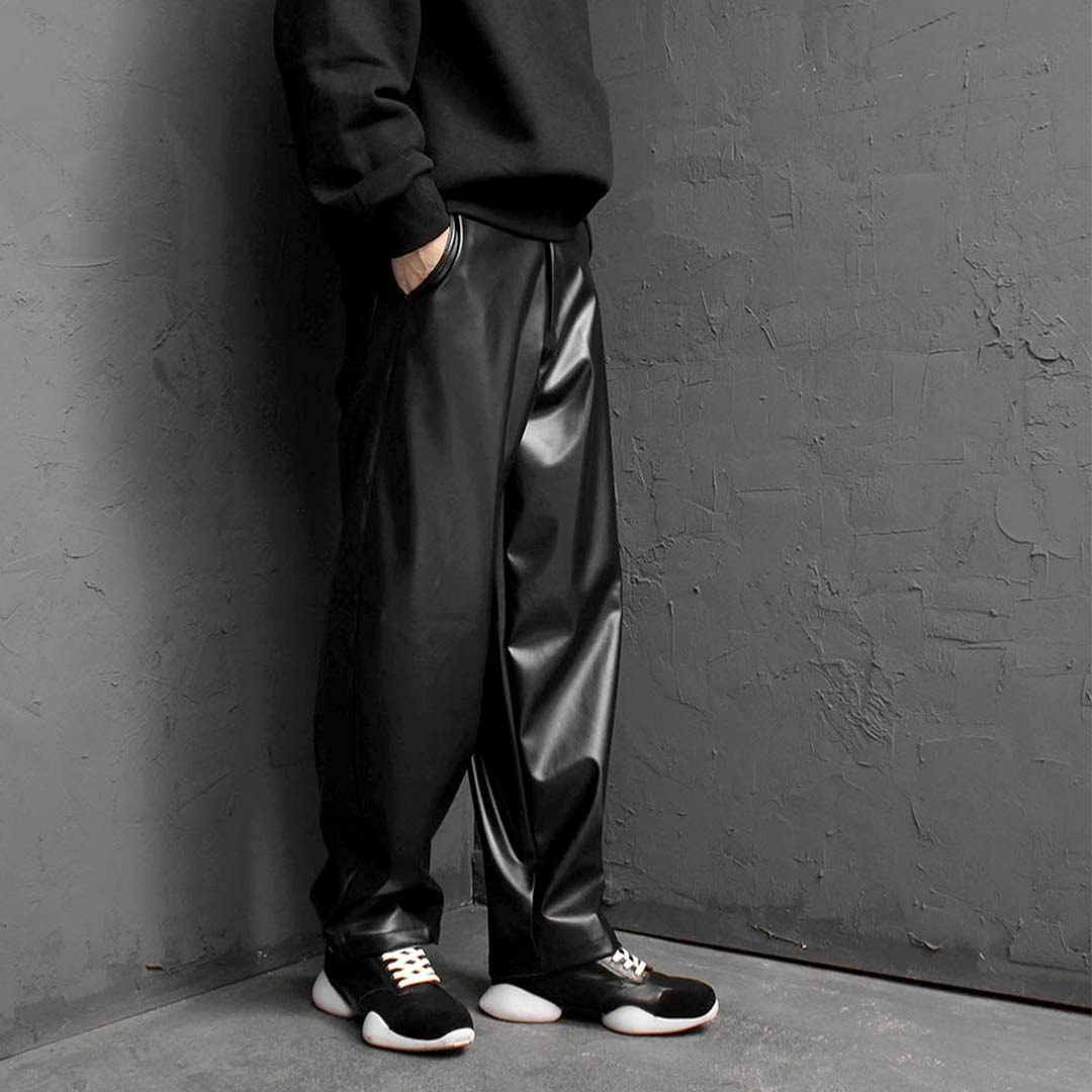 Faux Leather Wide Pants 1735