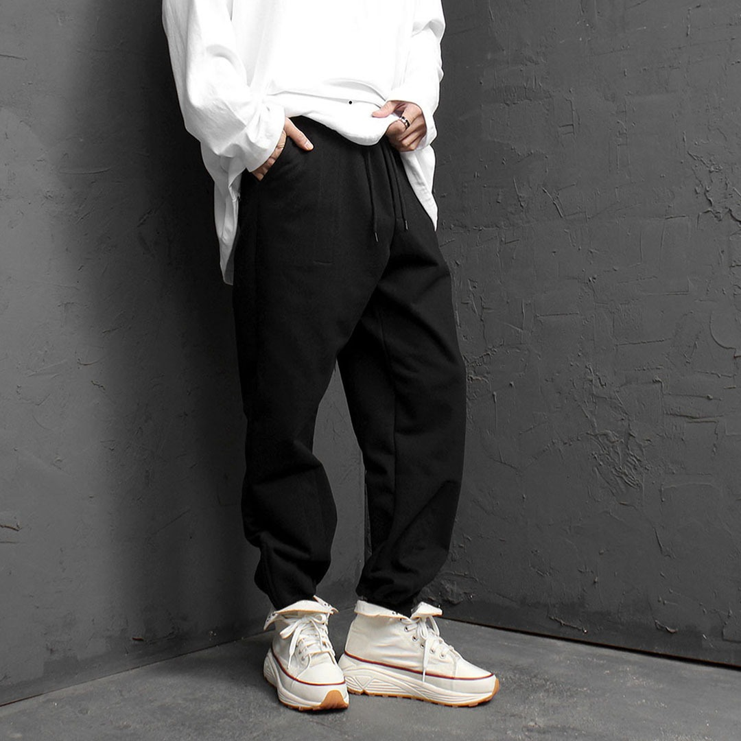 Zippered Hem Wide Baggy Sweatpants 1801