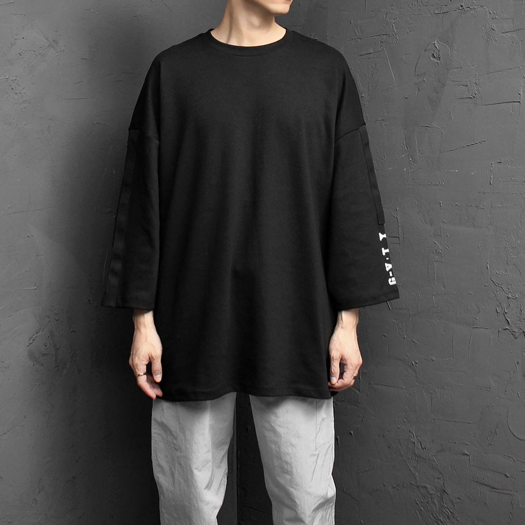 Oversized Fit Webbing 4/5 Sleeve Tee 1836