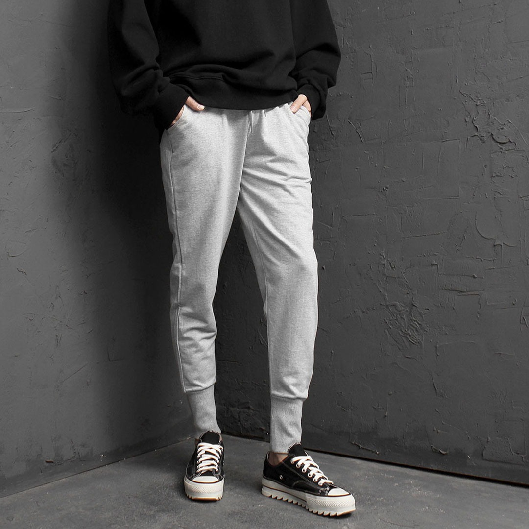 Low Crotch Long Ribbed Hem Baggy Joggers 1840