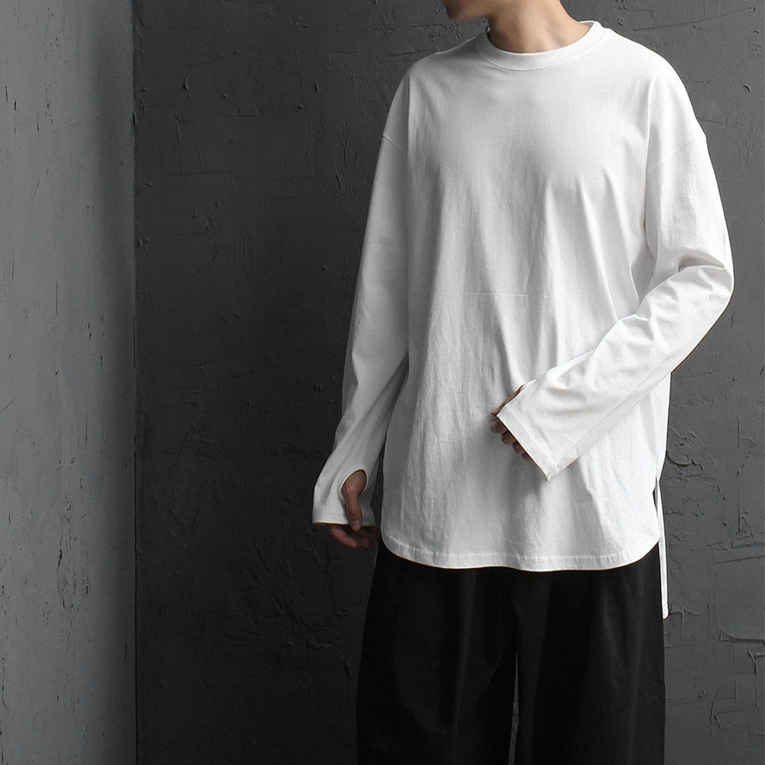 Loose Fit Unbalanced Split Side Hem Handwarmer Tee 847
