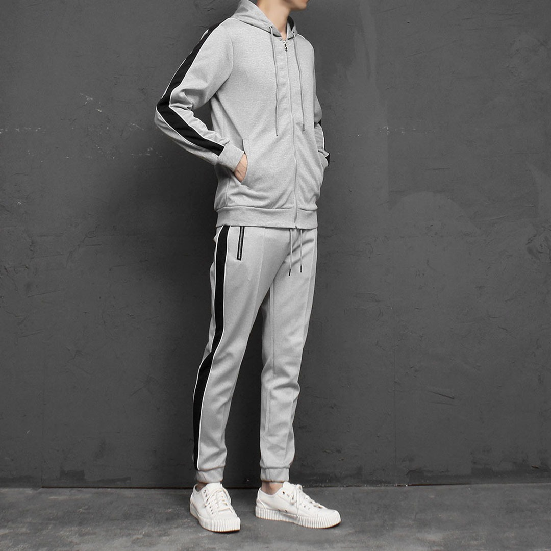 Side Line Zip Up Hoodie Joggers Set 1830