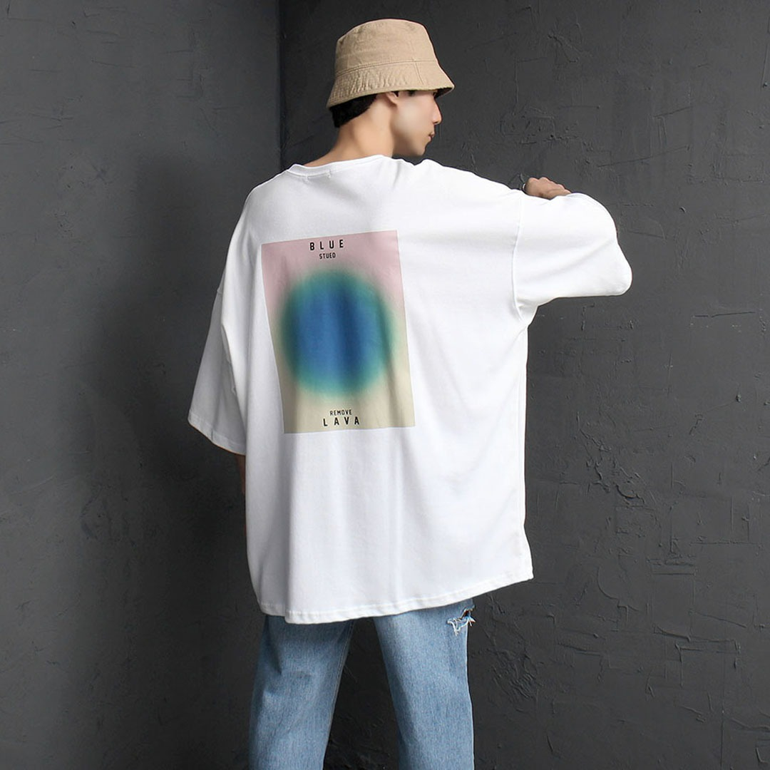 Oversized Fit Blue Lava Printing Tee 2151
