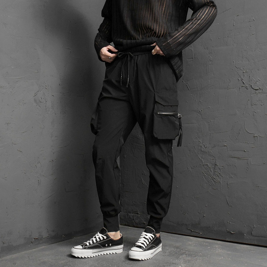 Cool Slim Zipper Cargo Pocket Joggers 2042