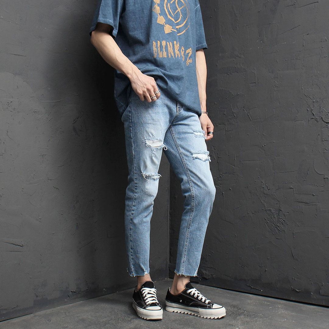 Heavy Damaged Cut Off Light Blue Skinny Jeans 2055