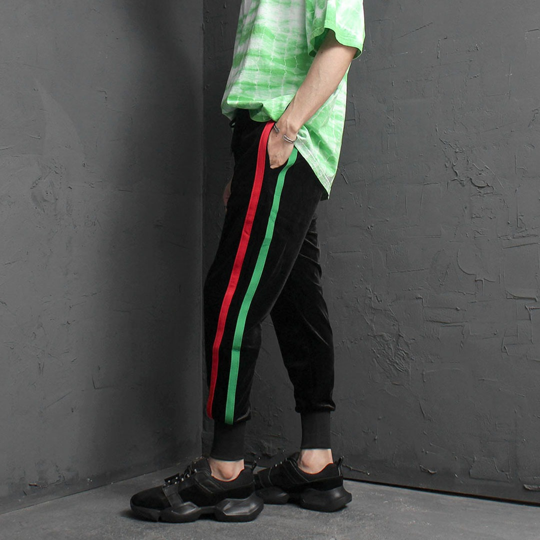 Summer Velvet Double Line Jogger Pants 2091