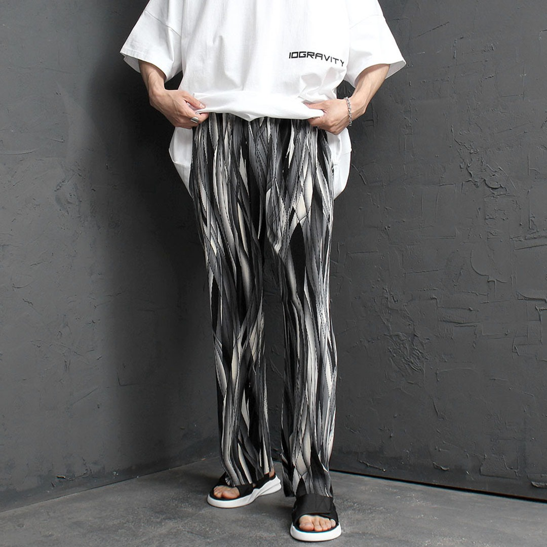 Stripe Pleats Wrinkle Elastic Waistband Pants 2165