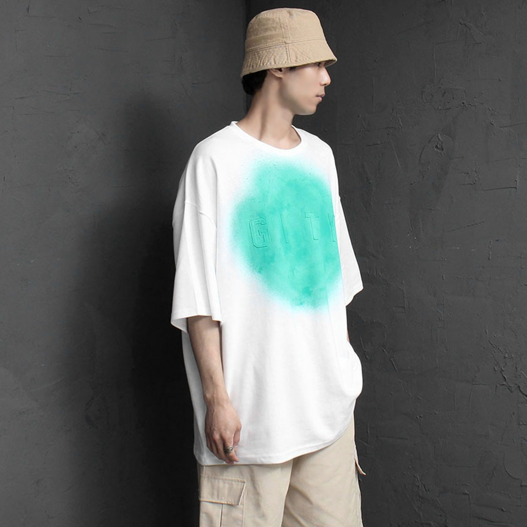 Oversized Fit Logo Patch Spray Printing Tee 2187